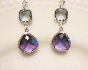 Purple Earrings, Gray and Purple Earrings, Bridesmaid earrings, purple and gray dangle earrings, gift for her