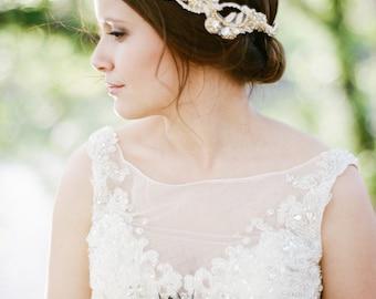 Bridal Hair Vine. Gold & Ivory Bridal Headpiece. Wedding Beaded Headband {Valeria}