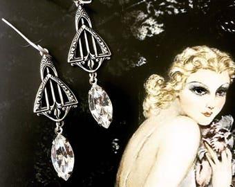 Vintage Art Deco Swarovski Crystal Earrings, gatsby wedding, great gatsby, flappers, roaring twenties, navette, bridal