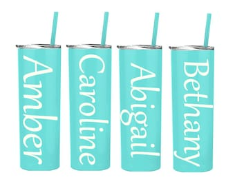 Custom 24h Cold 12h Hot Tumbler, Wedding Party, Groomsman, Bride, Tall Skinny 20 oz Stainless Steel Tumblers with Matching Straw