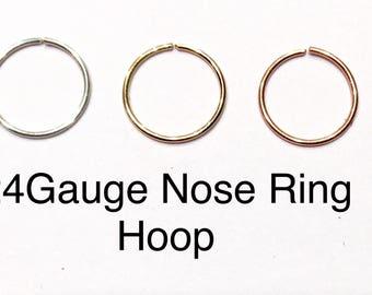 Gold Nose Hoop Nose Ring G 18G 20G 22G 24G  Gold Nose Piercing