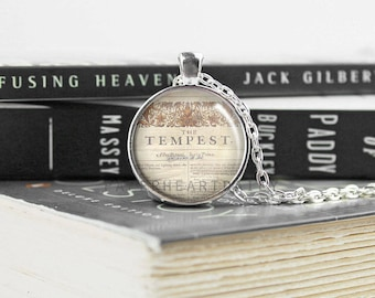 The Tempest - Shakespeare Jewelry - Acting Pendant - Theater Jewelry - Literature - First Folio - Literary Jewelry  -   (B0334)