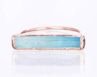 Raw Aquamarine Ring, Rose Gold Ring, Rings for Women, Statement Ring, Gemstone Ring, Stacking Rings, Boho Ring, Raw Crystal Ring, Birthstone