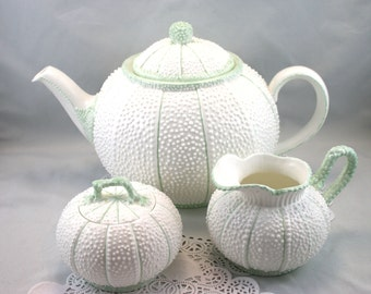 Beautiful, Celtic Weave Teapot, Cream & Sugar Set, Artist Signed, Pumpkin Shape, Bone Irish China made in 1980s