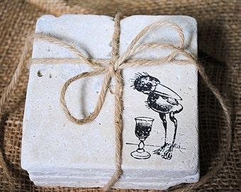 Silly Drunk Birds Coasters, Bird Coasters, White Elephant Gift, Tile Coasters, Black Friday Sale, Set of 4 Stone Coasters, Custom Coasters