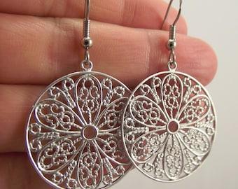 Silver Filigree Medallion Earrings, Round Silver Earrings, Ornate Round Earrings, Gift for Women, Gift under 25, Christmas Gift,  Hannukkah