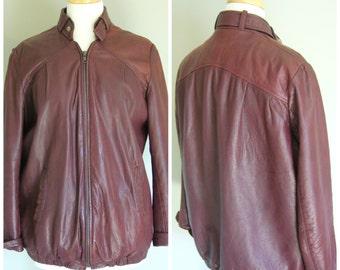 VIntage BORDEAUX LEATHER BOMBER Jacket/ Size medium