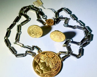 Vintage Miriam Haskell Coin Necklace and Earrings with Original Tag