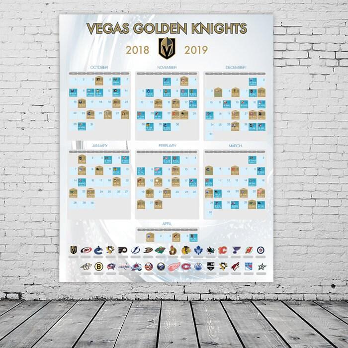 Vegas Golden Knights 2018-2019 Season Schedule NHL poster