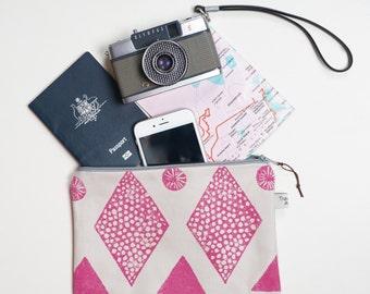 Block printed zipper Pouch, Travel organiser, Cosmetic bag, pouch, Pink pouch, Makeup Bag, Pencil case , Zipper pouch