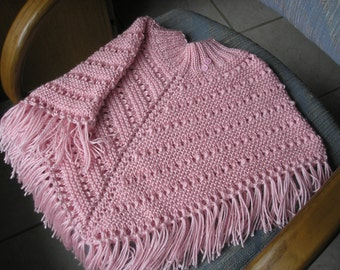 Knitted Poncho, Girls Medium - Soft Pink