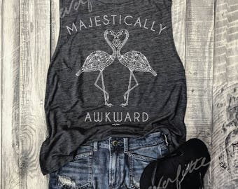 MAJESTICALLY AWKWARD Muscle Tee in Charcoal/White, Flamingo, Summer,  Workout Top, Muscle Tank, Funny Shirt, Workout Tank, Yoga Vest
