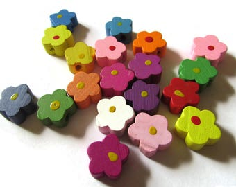 12mm Mixed Color Flower Beads Wood Beads Loose Beads Jewelry Making Beading Supplies Wooden Beads Floral Beads Multicolor Beads Daisy Beads