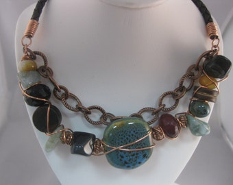 Blue Kazuri Bead Mixed Elements, Copper Wrapped Necklace