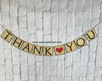 Wedding Sign, Thank You Banner, Wedding Party Photo Prop, Thank You Sign, Wedding Sign, Wedding Banner, Garland, Thank you Sign, Thank you
