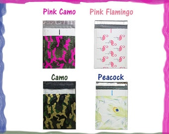 "10 or 20) Pack -6x10"" Hot Pink Camo, Flamingo, Peacock, Designer Poly Bubble Mailers Self-Seal Envelopes #0 Protective Shipping Mailers NEW"