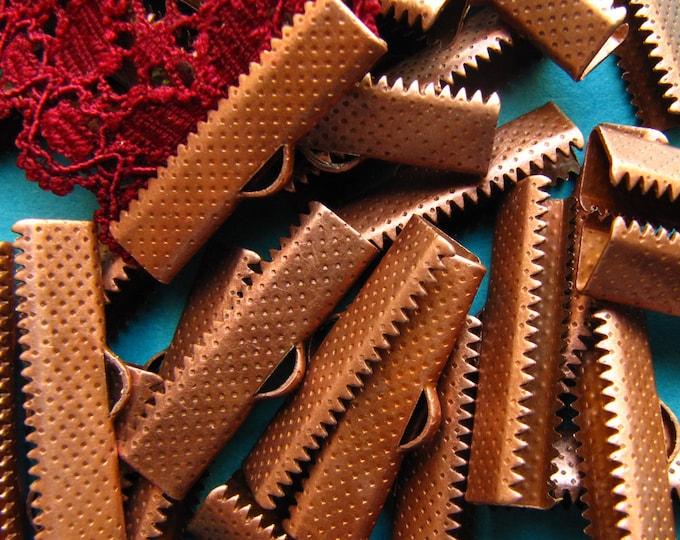 144 pieces 25mm or 1 inch Antique Copper Ribbon Clamp End Crimps