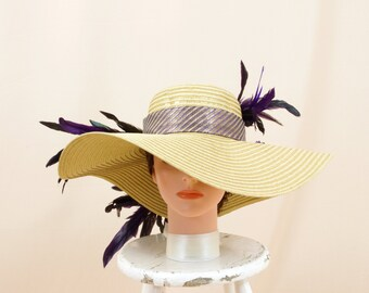 ebf556e143e Purple and Gold Hat   Kentucky Derby Hat   Wide Brim Hat   Gold Floppy Hat