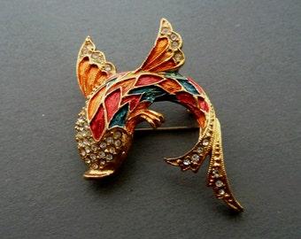 Gold Fish Brooch Vintage Flying Fish Brooch Sphinx Orange Red Brooch Enamel Gold Brooch Gift for Daughter Birthday Girl Valentine Day Gift