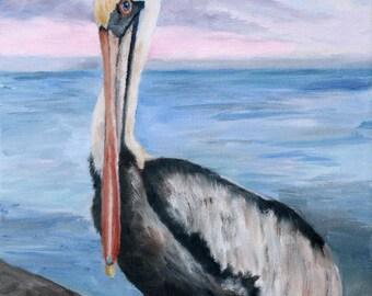 "Proud Pelican Original 12""x16"" Oil Painting"