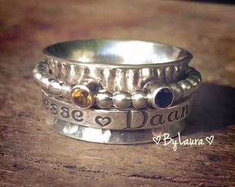 Spinner Ring with names and birthstones - Personalized