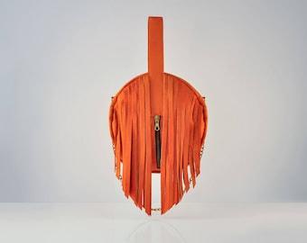Orange Leather Tassel bag