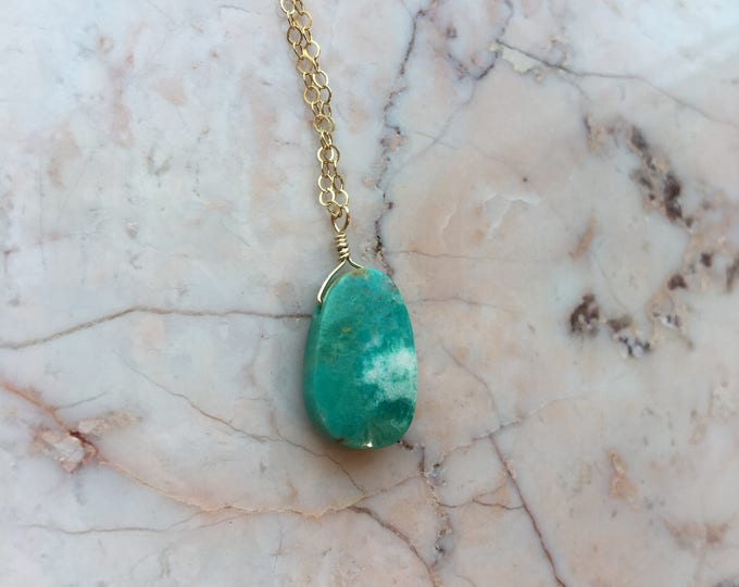 Turquoise and Gold Filled Littles Necklace Healing Chakra Energy Gemstones Inspirational Gift