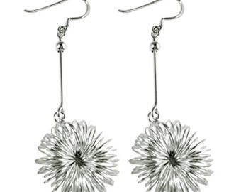 Silver earrings 925 Silver earrings jewelry flower filigree bar ladies (No. OS 219A)