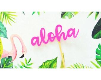 Tropical Party Decorations. Aloha Cake Topper. Aloha. Tropical Party. Luau Party. Cake Topper. Centerpiece. Tropical Decor. Luau Decor.