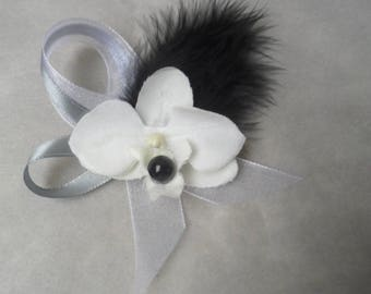 Boutonniere - PIN for wedding - black white and gray