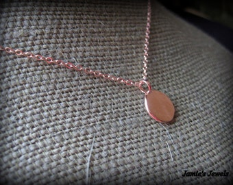 Rose Gold Disc Necklace - Tiny Disc  - Minimalist  -  Circle  - Modern Rose Gold Necklace - Layering - Everyday - Simple - Rustic - Round