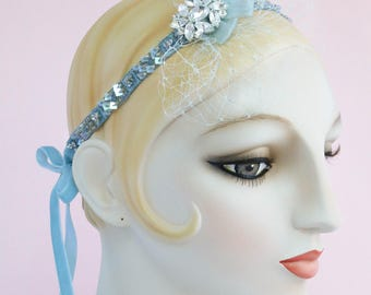Blue Bijoux Beaded Headband with Veil, Flapper Headpiece, Circus Girl