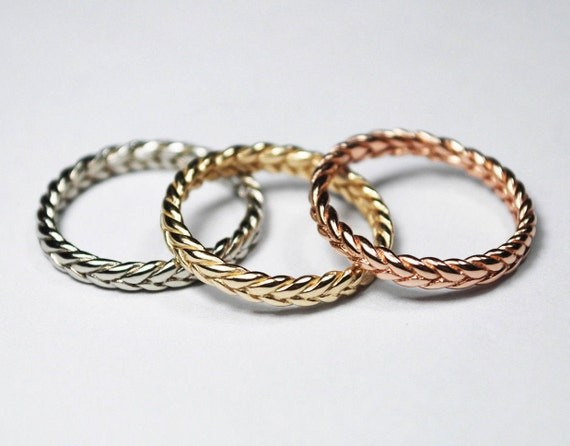 Solid 18k Thin Gold Braid Ring -White, Yellow or Rose Gold