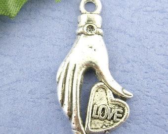 1 pendant charm love heart hand 16 * 31 mm