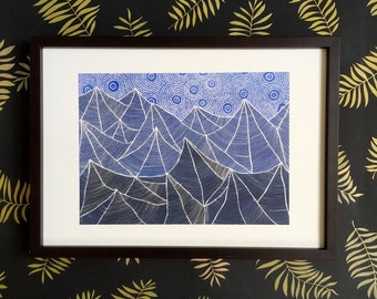 SALE! Mountain print, forest art, nature, landscape, Risograph, A3 poster, starry night, night sky, starbound