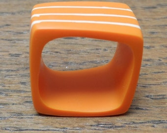 Resin ring - orange square ring with nude stripes around