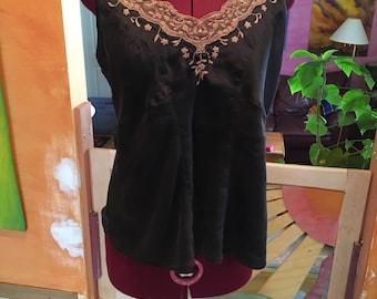 Vintage Chocolate brown Silk Camisole