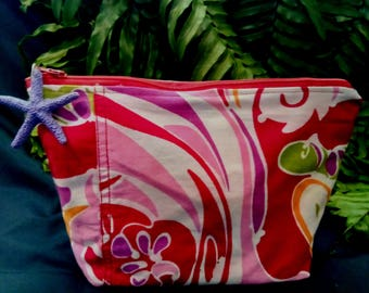 Recycled Floral Cotton Fabric Cosmetic Bag