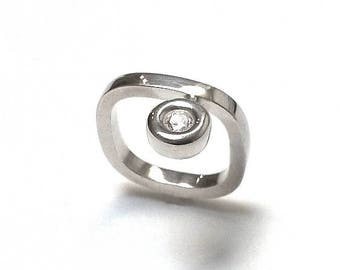 RING sterling silver version CADRATUS and oxide. Contemporary jewelry, minimalist design.