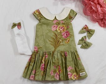Alexandra in Green Floral - Easter or Anytime - Limited Size Run!