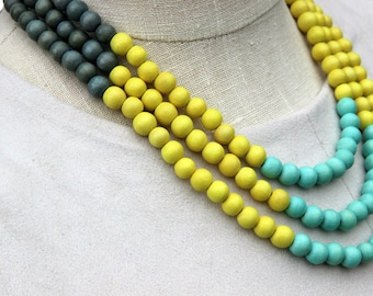 colorful necklace / multi color necklace / beaded necklace / turquoise mint green yellow grey necklace / multi strand necklace