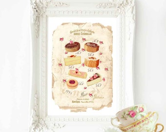 French pastry, bakery, vintage cake illustration, kitchen print, A4 giclee