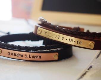 Customized bracelet, leather bracelet, custom wrap bracelet, personalized leather bracelet, leather wrap cuff anniversary gift for boyfriend