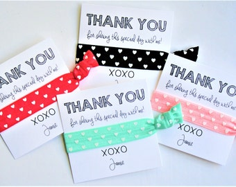 Birthday Hair Tie Favors | Thank You for sharing this special day with me | PERSONALIZED Birthday Party Favors | Party Gift Hair Ties | 1ct