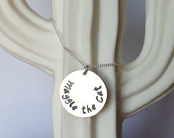 Sterling Silver Circle Necklace, Hand Stamped, Personalized Jewelry, Custom Necklace, Metal Stamping, Mother's Gift, Birthday Gift
