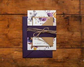 Invitation printable floral wedding Invitation & RSVP, purple, leaves, autumn, rustic