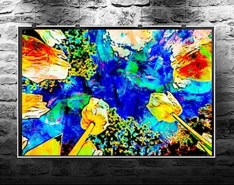 Tulips yellow sky spring original abstract painting. Tulips yellow sky spring original art digital download. Abstract flowers Tulips yellow.