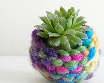 Shabby Chic Decor~ Bohemian Home Decor~ Boho Dorm Decor~ Handmade Succulent Planter~ Air Plant Pot~ Mini Planter~ Rainbow Crochet~ Gypsy