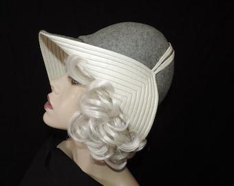 Mr. John gray wool hat 1960s mod architectural cream flap cap