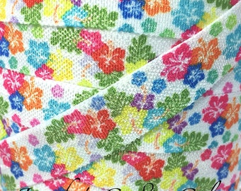 "Hawaiian Luau Print Fold Over Elastic- Hibiscus FOE-You Choose Yards-Foldover Print Elastic- Elastic by the Yard- 5/8"" Fold Over Elastic"